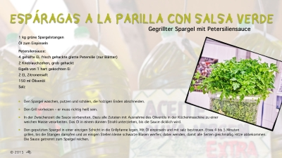 Cantina # 46 | Esparagas a la parilla con salsa verde (Gegrillter Spargel mit Petersiliensauce) © Hans Keller