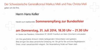 Einladung Sommerempfang beim Schweizer Generalkonsul