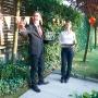 """""""Heidi zurück in Frankfurt"""" beim Sommerempfang zur Bundesfeier am 31. Juli 2014 im Residenzgarten des Schweizer Generalkonsuls in Frankfurt."""